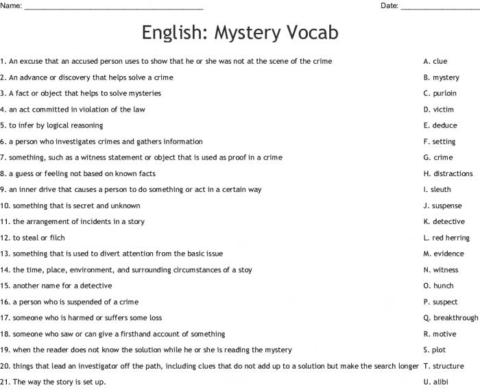 Mystery Vocabulary Crossword