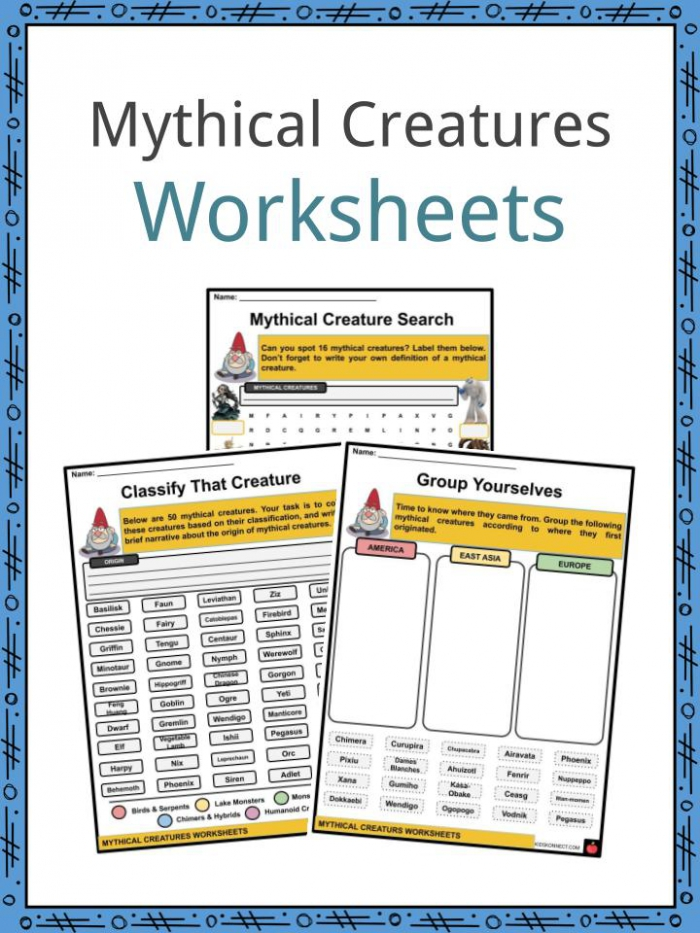 Mythical Creatures Facts  Worksheets   Origins For Kids