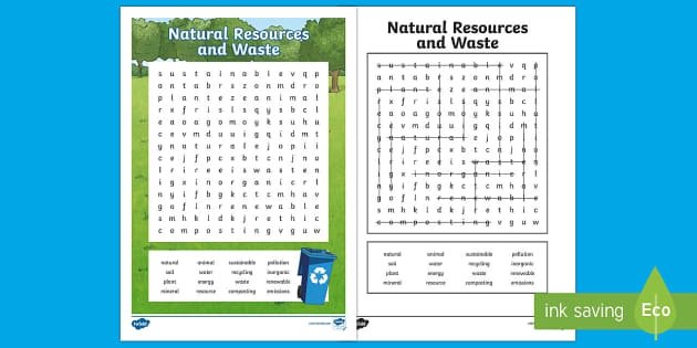 Natural Resources And Waste Word Search Teacher Made