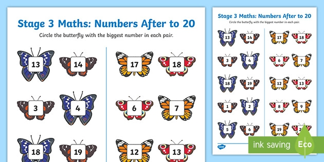 New Zealand Maths Stage  More Or Less To  Butterflies Worksheet