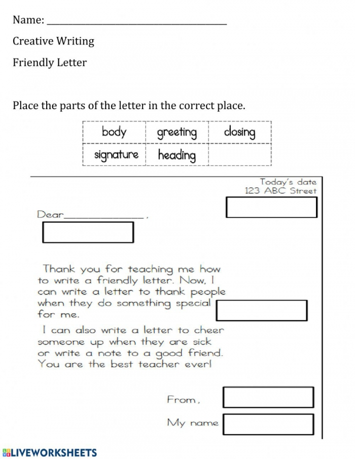 Parts Of The Friendly Letter Worksheet