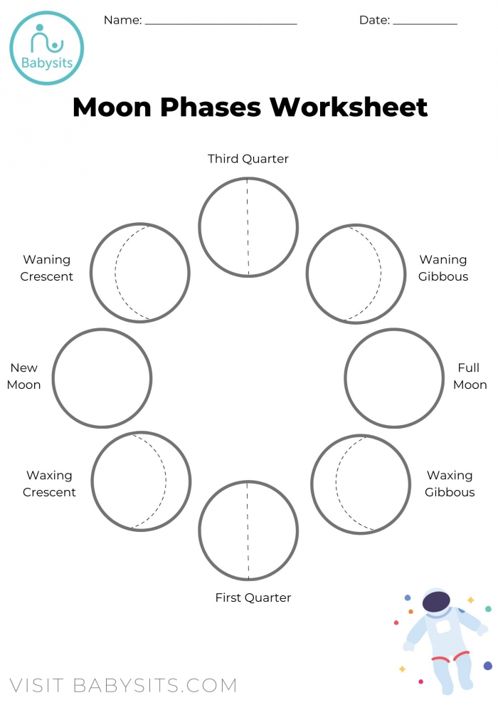Phases Of The Moon Space Crafts For Kids With Moon Phases Worksheet
