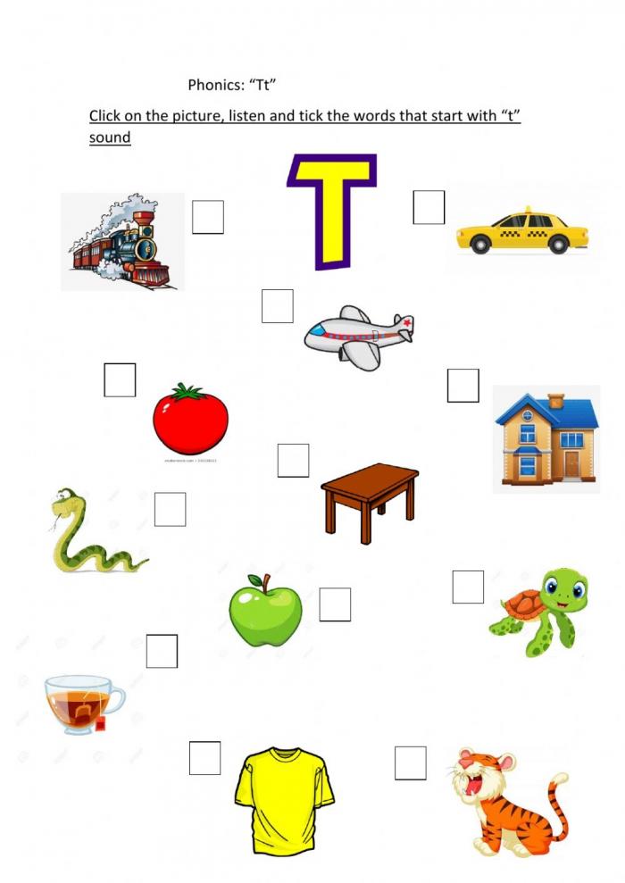 Phonics T Interactive Worksheet