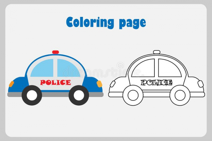 Police Car In Cartoon Style  Coloring Page  Education Paper Game