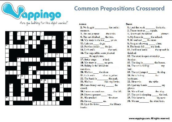 Prepositions Crossword Picture
