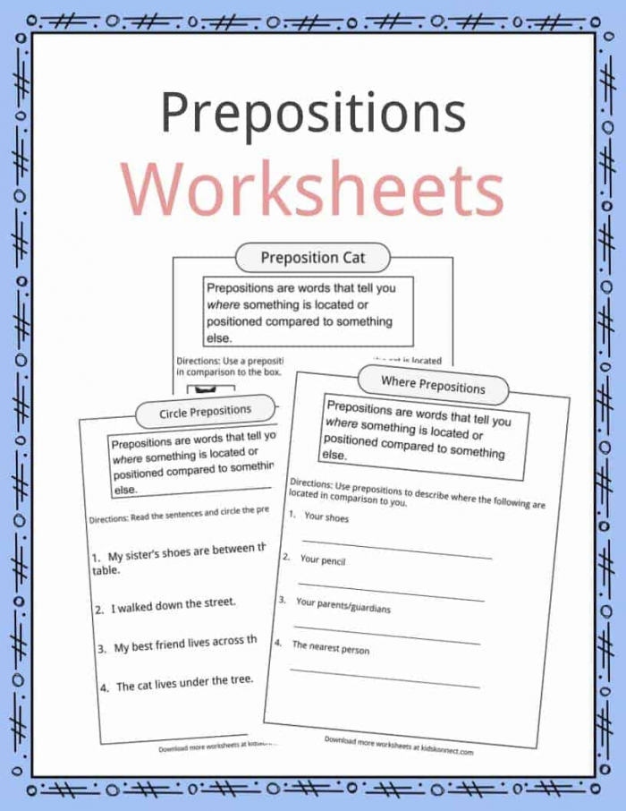 Prepositions Definition  Worksheets   Examples In Text For Kids
