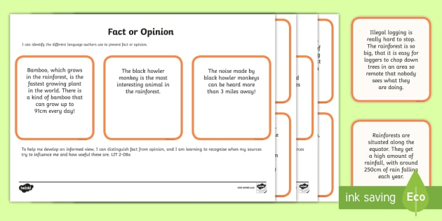 Rainforest Fact Or Opinion Cards For School