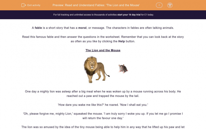 Read And Understand Fables The Lion And The Mouse Worksheet