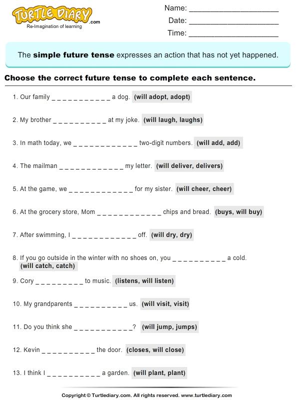 Read Sentences And Choose Correct Future Tense Verb Worksheet