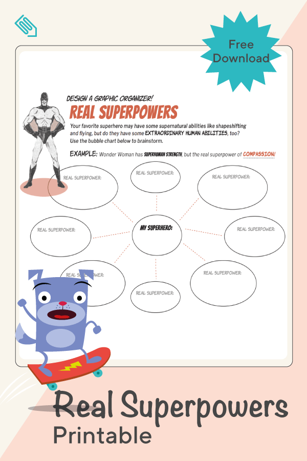 Real Super Powers Graphic Organizer Worksheets