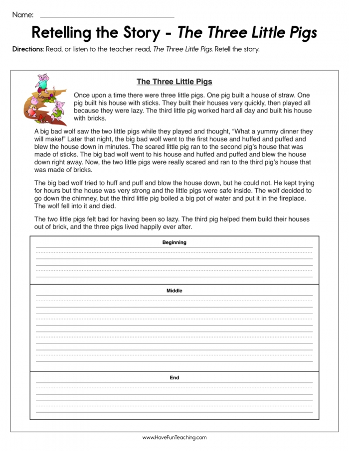 Retelling The Story The Three Little Pigs Worksheet  Have Fun