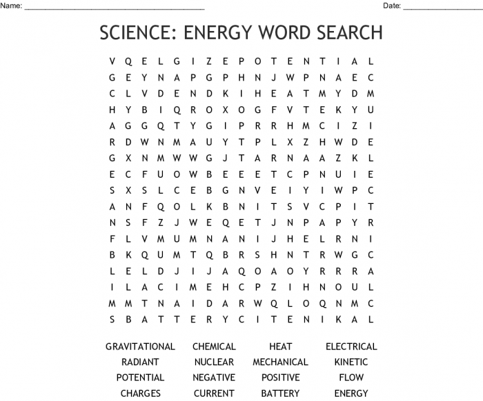 Science Energy Word Search