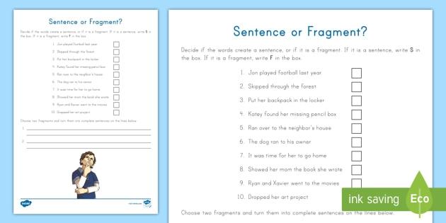 Sentence Fragment Worksheet Activity