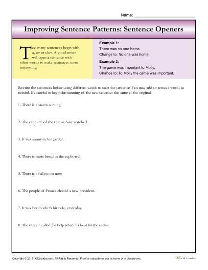 Sentence Patterns Sentence Openers