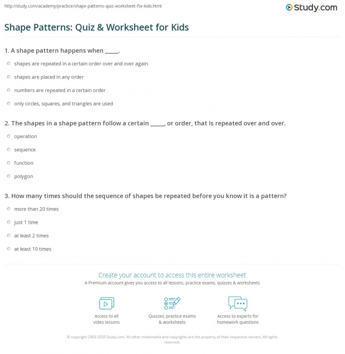 Shape Patterns Quiz   Worksheet For Kids