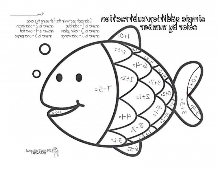 Simple Addition Subtraction Coloring Page