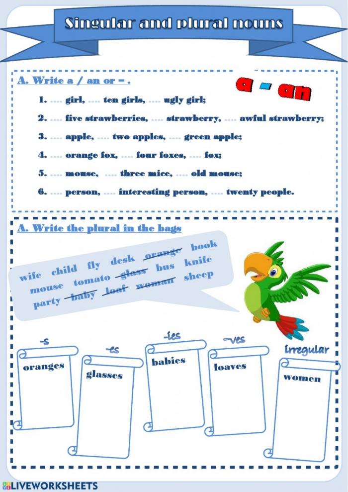 Singular And Plural Nouns Interactive Worksheet