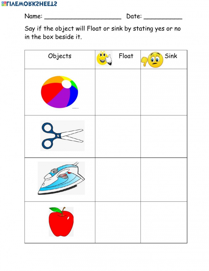 Sinking And Floating Worksheet