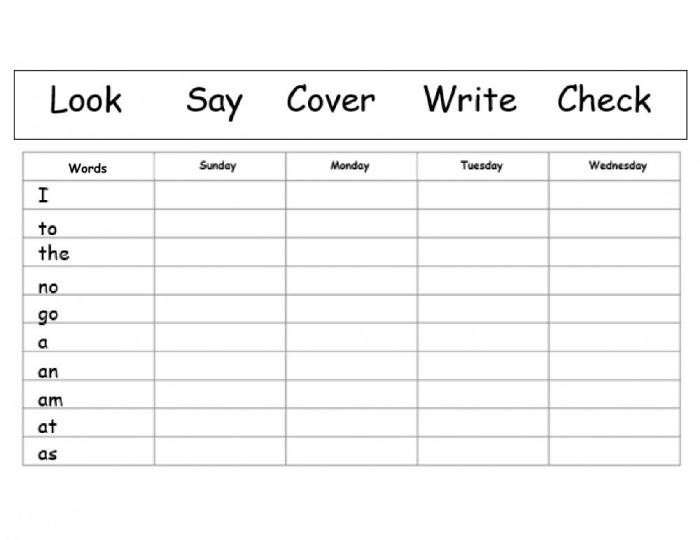 Spelling Practise Aa Words And Tricky Words Worksheet