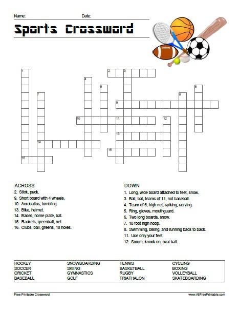 Sports Crossword Puzzle
