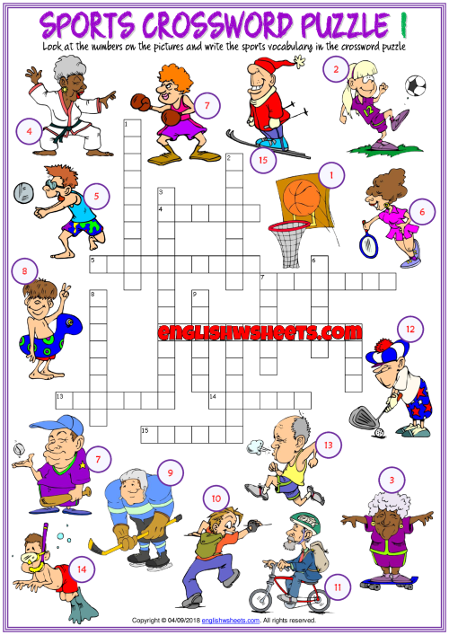 Sports Vocabulary Crossword Puzzle Esl Printable Worksheets For