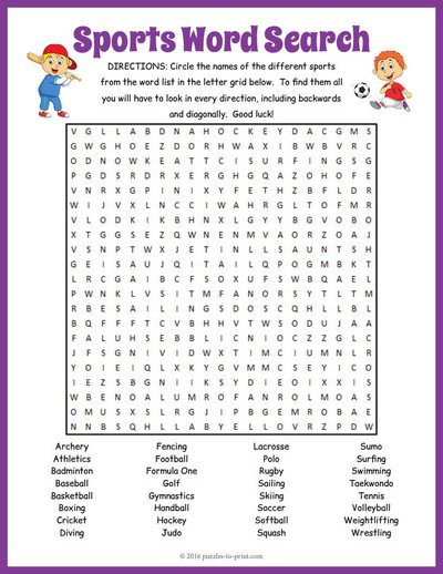 Sports Word Search Puzzle