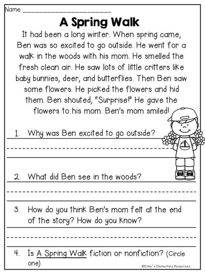 Spring Fling Writing Literacy Activities Reading Worksheets