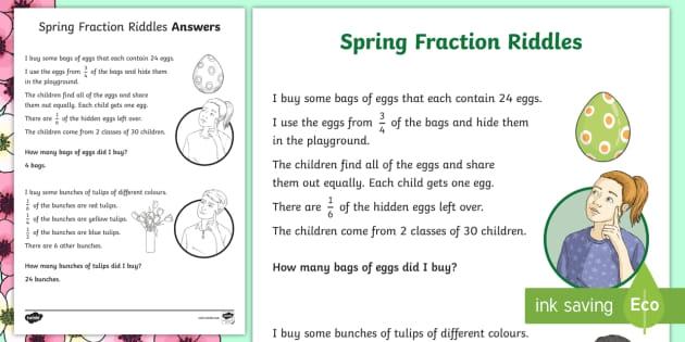 Spring Fraction Riddles Worksheet Teacher Made