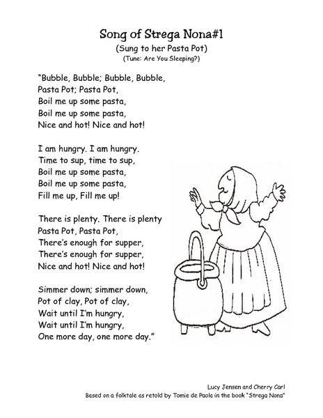 Strega Nona Retell Song Lyrics Worksheet