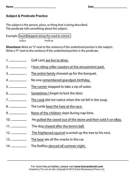 Subject And Predicate Worksheets First Grade Language Arts English