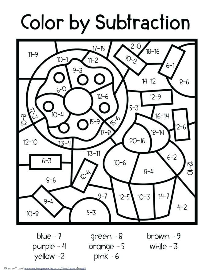 Subtraction Worksheets Grade Math Color Number Addition
