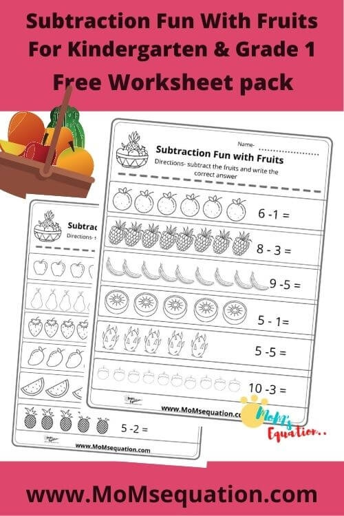 Subtraction Worksheets With Fruit Fun