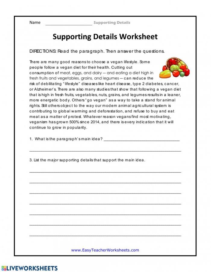 Supporting Details Worksheet Worksheet