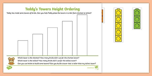 Teddys Towers Height Ordering Worksheet Teacher Made