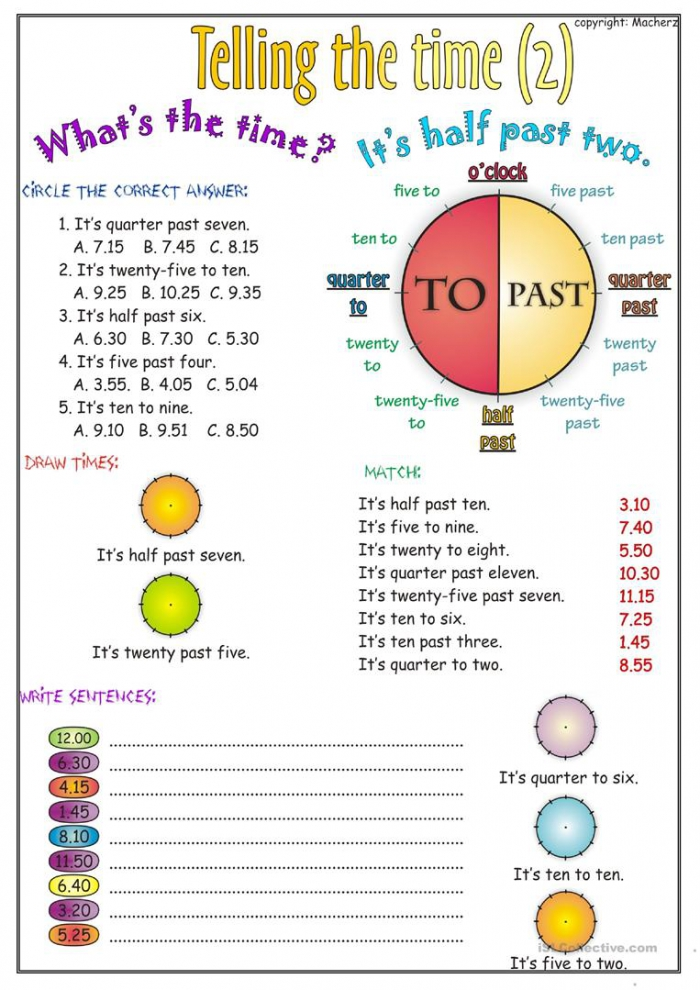 Telling The Time Worksheet Part