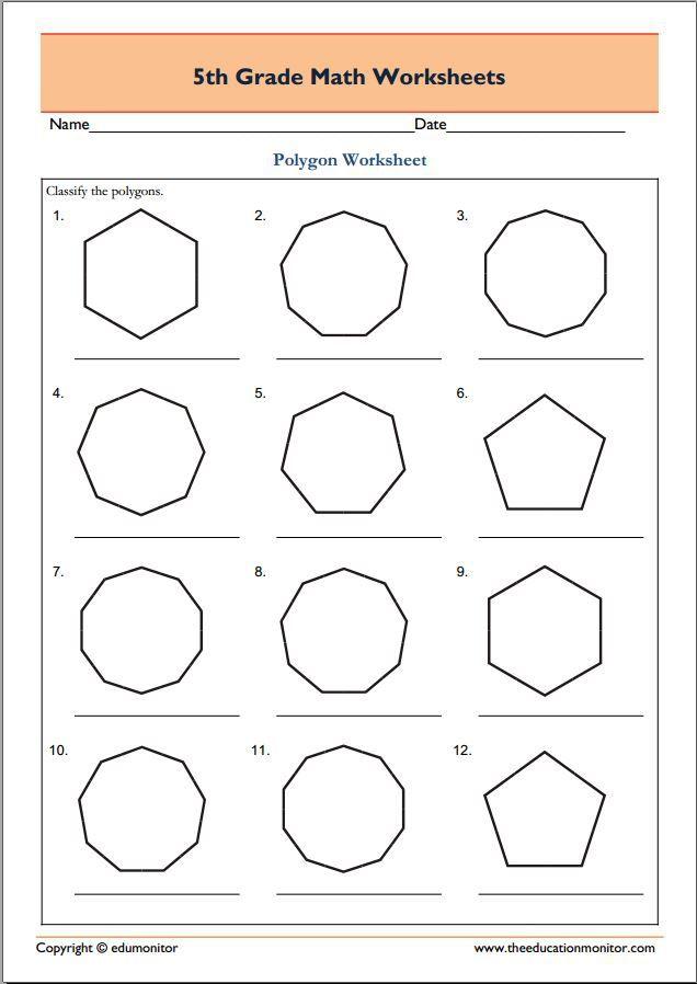 Th Grade Geometry Math Worksheets