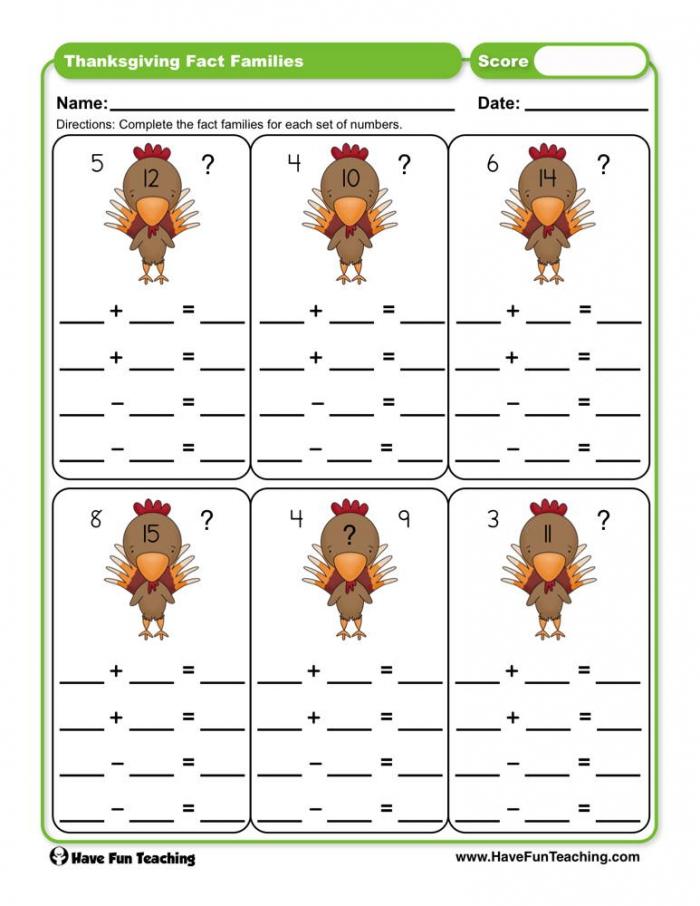 Thanksgiving Fact Families Worksheet  Have Fun Teaching