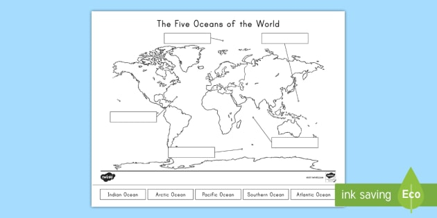 The Five Oceans Of The World Map