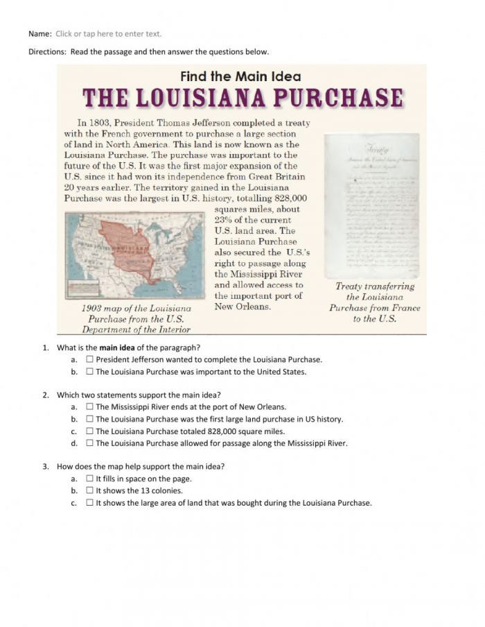 The Louisiana Purchase Main Idea Worksheet Worksheet