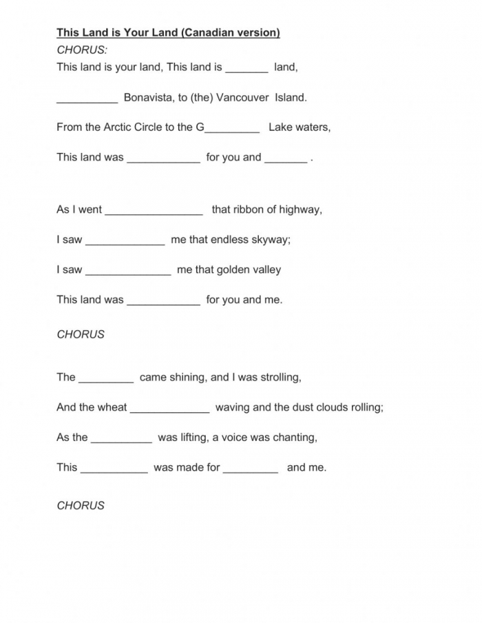 This Land Is Your Land Canadian Version Worksheet