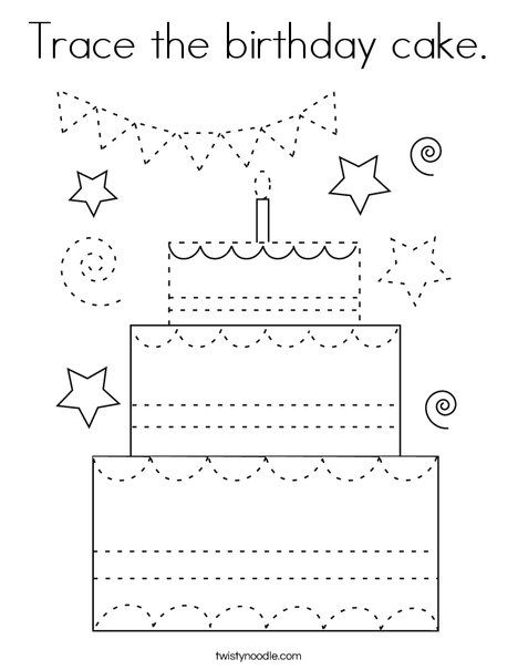 Trace The Birthday Cake Coloring Page