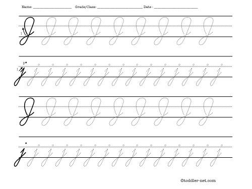 Tracing Worksheet Cursive Letter J