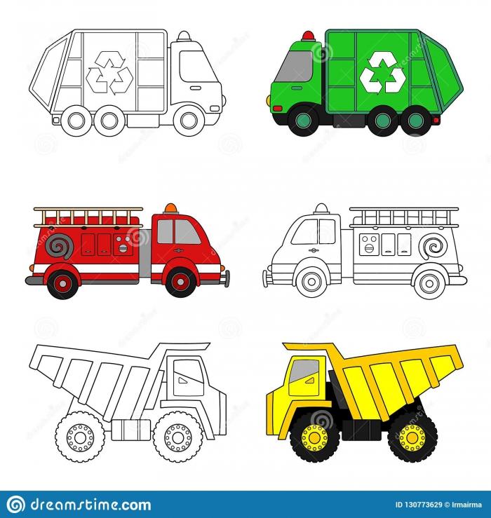 Trucks Coloring Stock Vector Illustration Of Dump Truck Worksheet