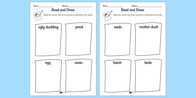 Ugly Duckling Read And Draw Worksheet Teacher Made