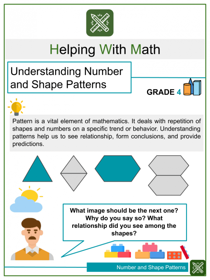 Understanding Number And Shape Patterns Th Grade Math Worksheets