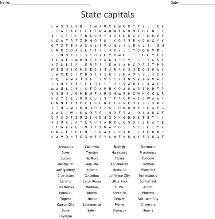 Western State And Capitals Word Search