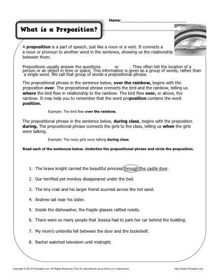What Is A Preposition Printable Worksheet