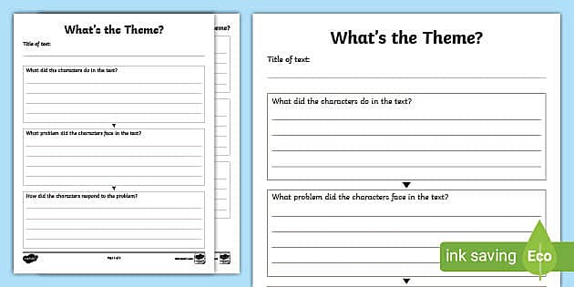 Whats The Theme Graphic Organizer Teacher Made