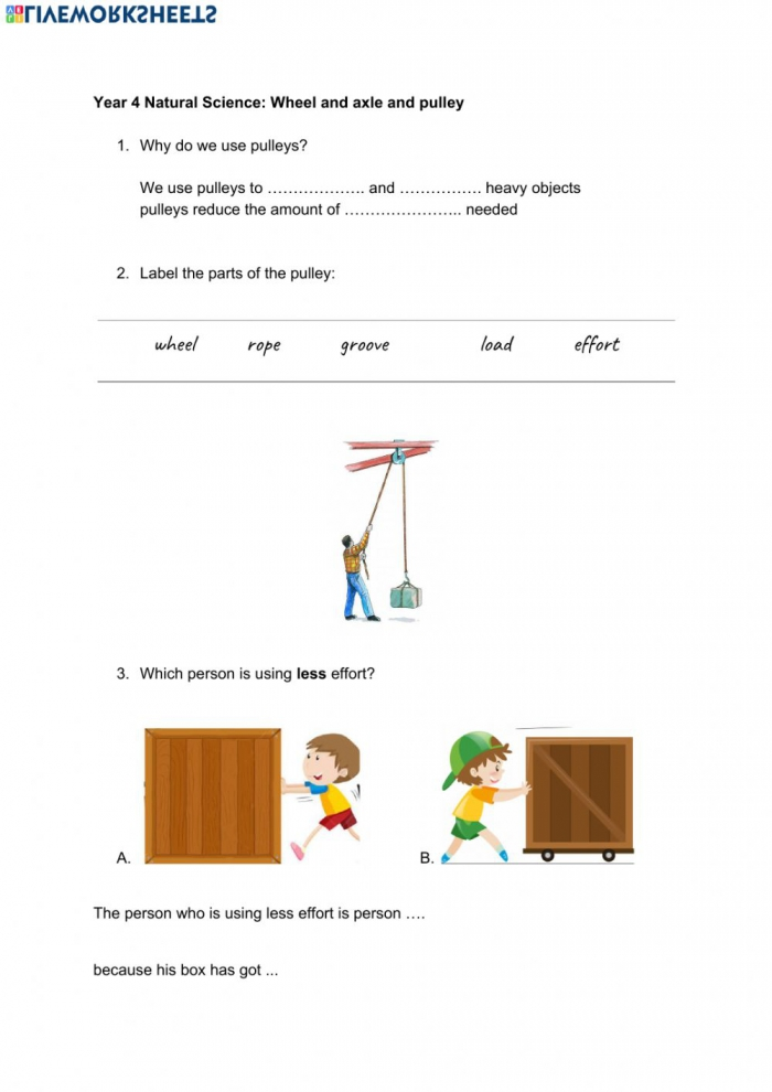 Wheel And Axle And Pulley Worksheet