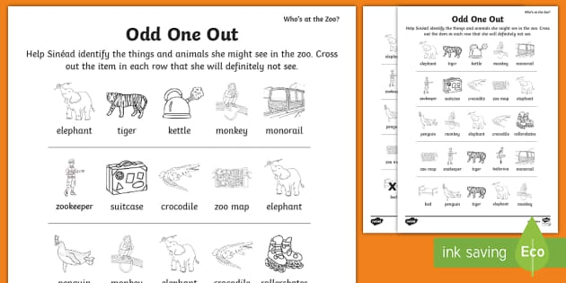 Whos At The Zoo Circle The Odd One Out Worksheet  Worksheet